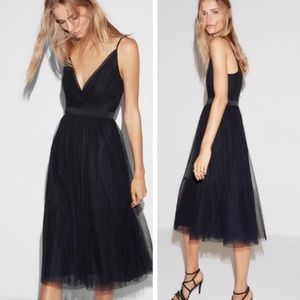 Express Point D'espirit Tulle Deep Navy Blue Dress